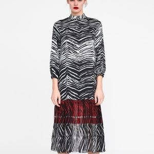 NWT ZARA ANIMAL Zebra PRINT TRIM Summer Fall DRESS